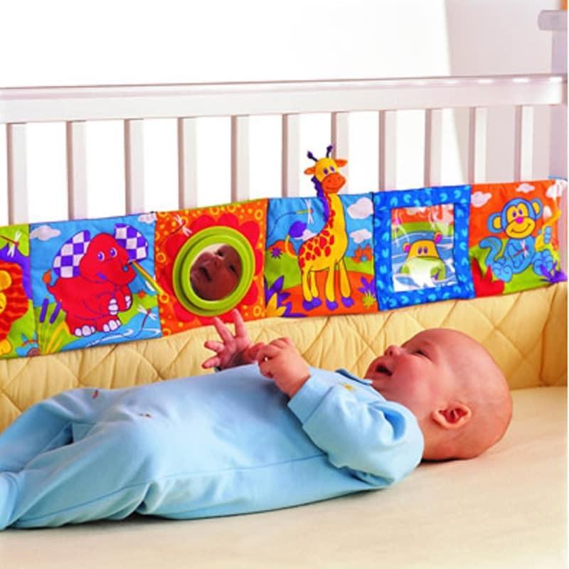 Babyspielzeug 0-12 Monate Infant Rattles Stoffbuchwissen rund um Multitouch-Multifunktionsspaß & zweifarbige Krippenbettstoßstange