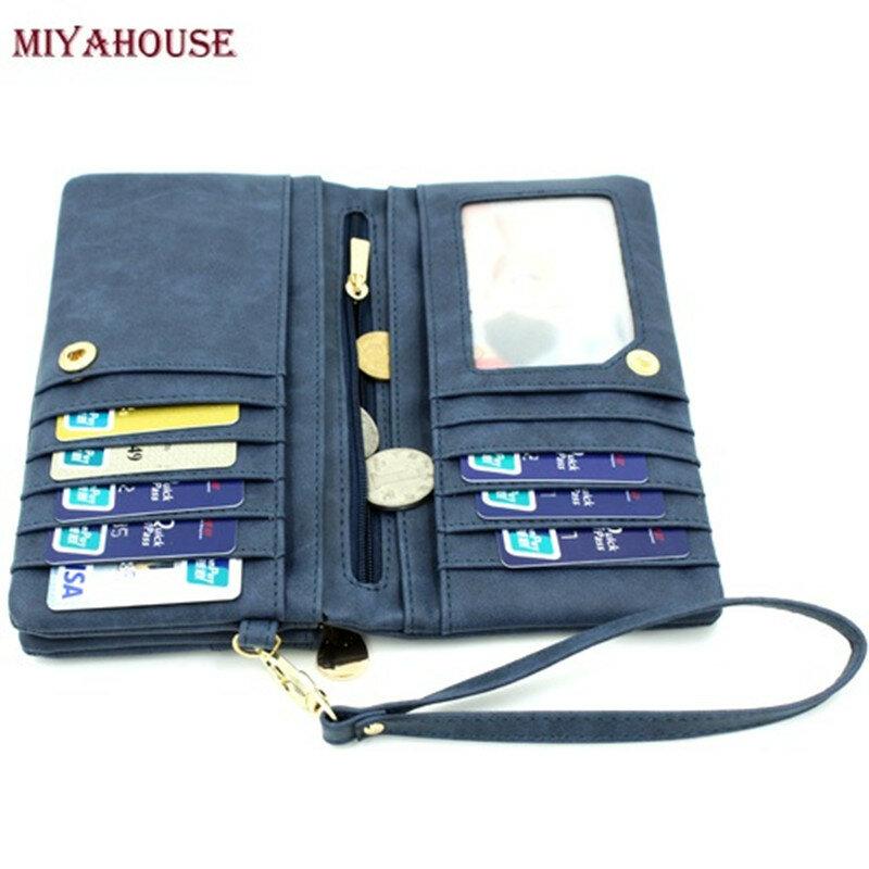 Cartera de piel sintética con doble cremallera para mujer, billetera de gran capacidad, bolso con doble cremallera, monedero