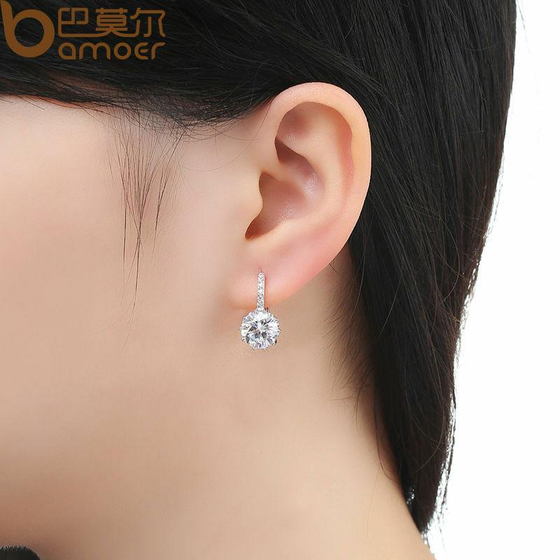 BAMOER العصرية حقيقية الفضة اللون جولة هوب أقراط مع AAA الزركون للنساء مجوهرات هدية YIE083