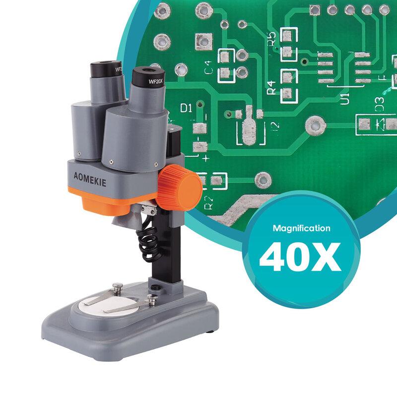 AOMEKIE 40X Binoculare Stereo Microscopio di Alta LED PCB Solder Campioni di Minerali Guardare Bambini Science Education Strumento di Riparazione Del Telefono
