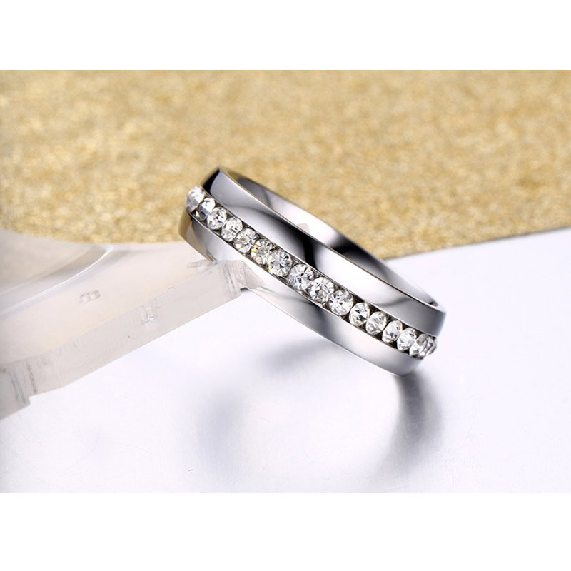 Vnox Classic gold-color crystal stone wedding ring for women stainless steel metal promotion sales
