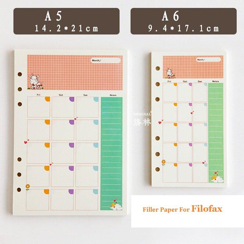 A5 A6 Sveglio Creativo Colorato Diario Legante filo di Carta Apporto Scuola Ufficio di Cancelleria Planner Accessori filo di Carta Apporto Per Filofax