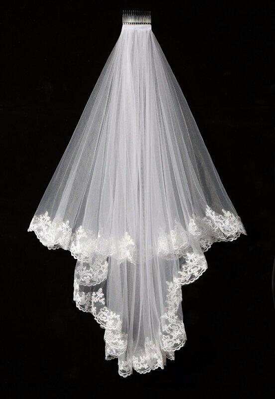 طرحة من طبقتين من التول الشبكي ، طرحة زفاف طويلة من الدانتيل بطول 1.5 متر ، SLV005