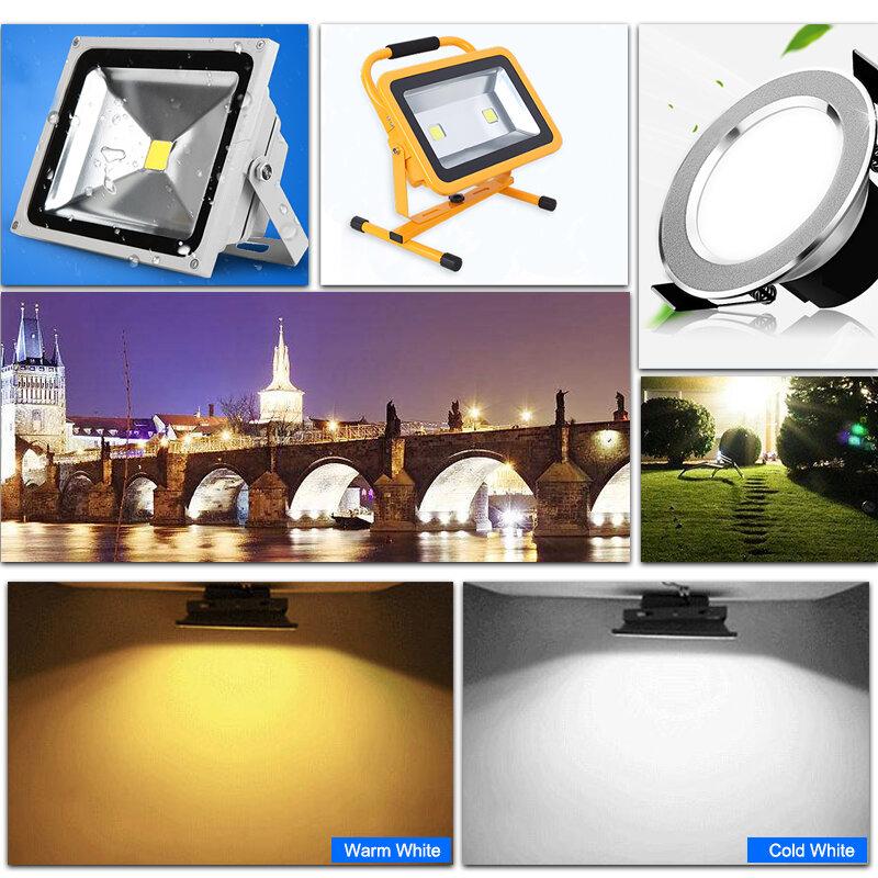 Lámpara de Chip COB IC inteligente integrada, bricolaje, 220V, 5W, 10W, 20W, 30W, 50W, para reflector exterior, blanco frío/blanco cálido