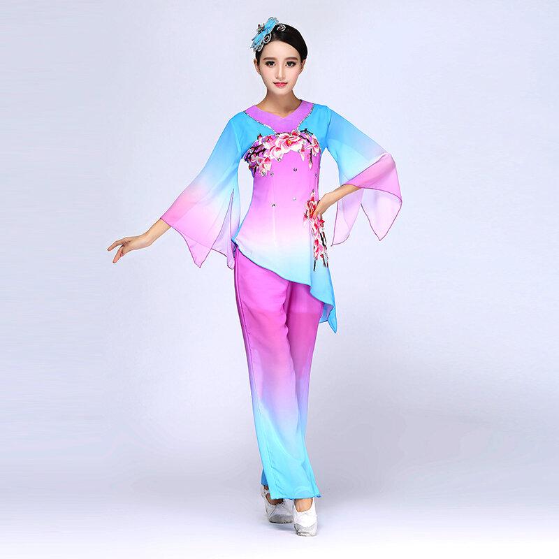 عرض رقص يانغكو الكلاسيكي 2016 ، أزياء جديدة على شكل مروحة ، أزياء رقص طبلة ، ملابس عصرية للسيدات وكبار السن