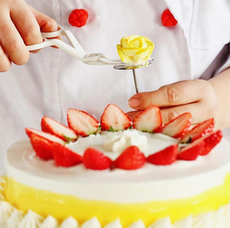 ใหม่สแตนเลสสตีลเค้กดอกไม้เข็มDIYเค้กCupcakeครีมFondantเครื่องมือตกแต่งดอกไม้LLifter