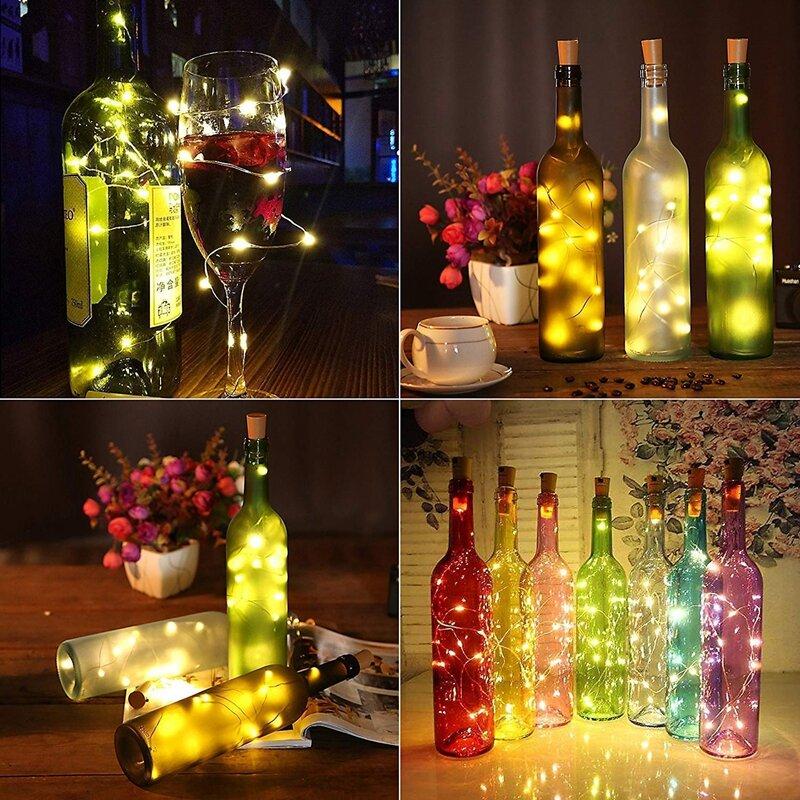 문자열 led 와인 병 코르크 20 LED 병 조명 배터리 코르크 파티 웨딩 크리스마스 할로윈 바 장식 따뜻한 화이트