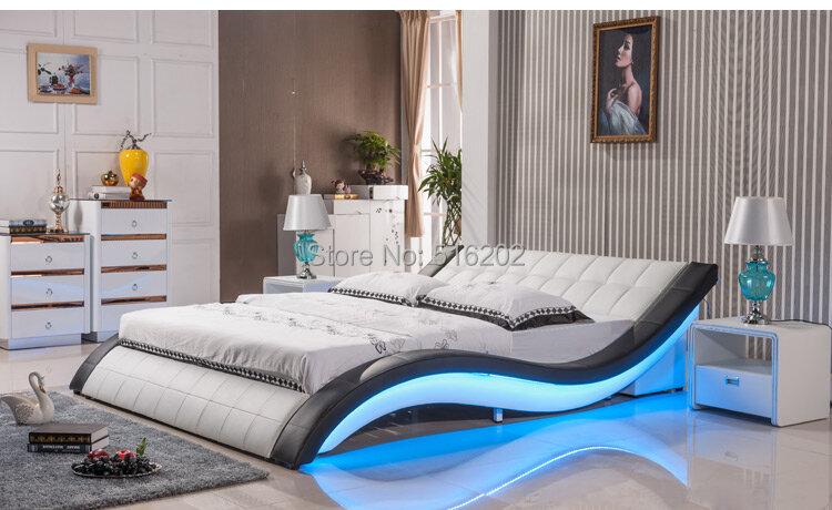 سرير جلد ناعم خفيف C305 ، سرير كبير الحجم ، أثاث غرفة نوم مريح ، سرير ناعم