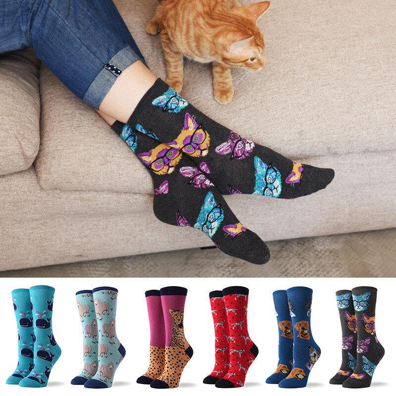 Paris frauen Socken Harajuku Baumwolle Tiere Nette Katze Cartoon Crew Socken Druck Lustige Atmungsaktive Kawaii Hund Casual Happy Sock