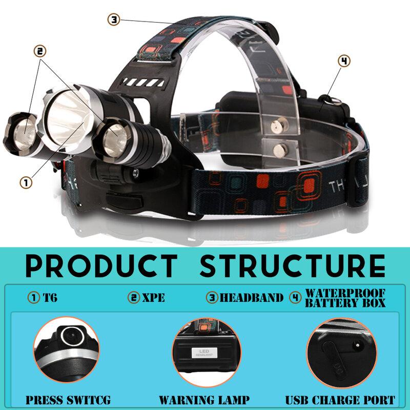 크리스마스 선물 8000LM IR 센서 LED 전조 등 T6 헤드 Lanternas 토치 라이트 충전식 18650 방수 랜턴 낚시