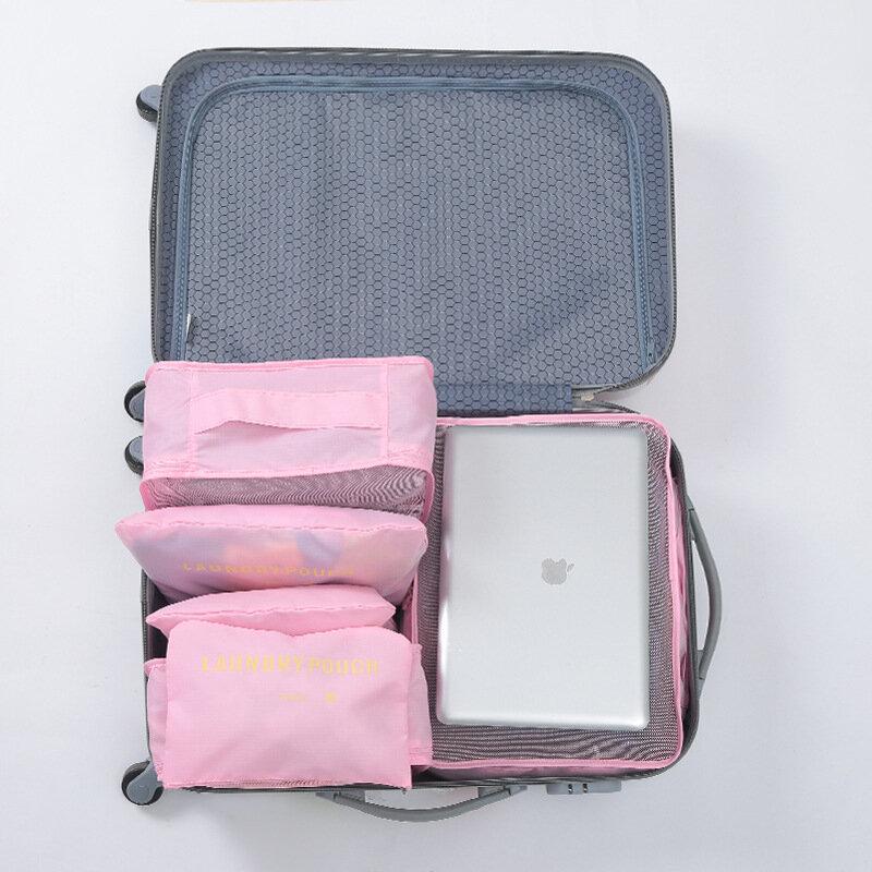 6 pièces/ensemble mode Double fermeture à glissière étanche Polyester hommes et femmes bagages sacs de voyage emballage cubes