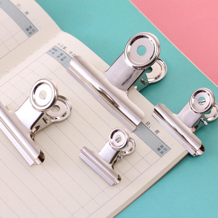 Clip para Carpeta de papel de oficina, clips de metal blancos de acero inoxidable, tamaños de 29mm, 36mm, 50mm, 61mm, suministros de papelería para oficina y escuela