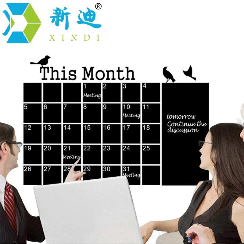벽 달력 스티커 사무실 칠판 PVC 이동식 칠판 월 계획 메모 블랙 메시지 보드 무료 배송