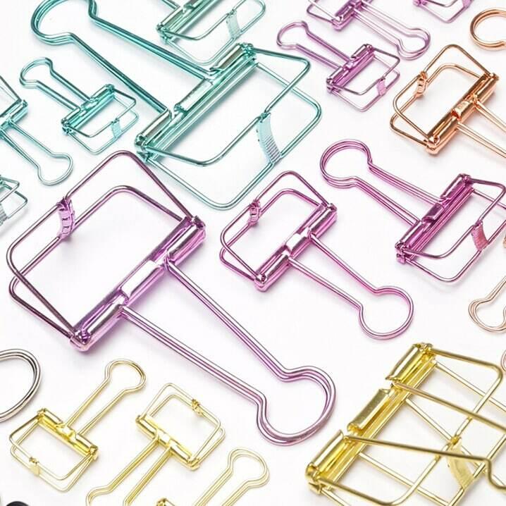 Novità tinta unita scava fuori Clip leganti in metallo note lettera graffetta forniture per ufficio FOD