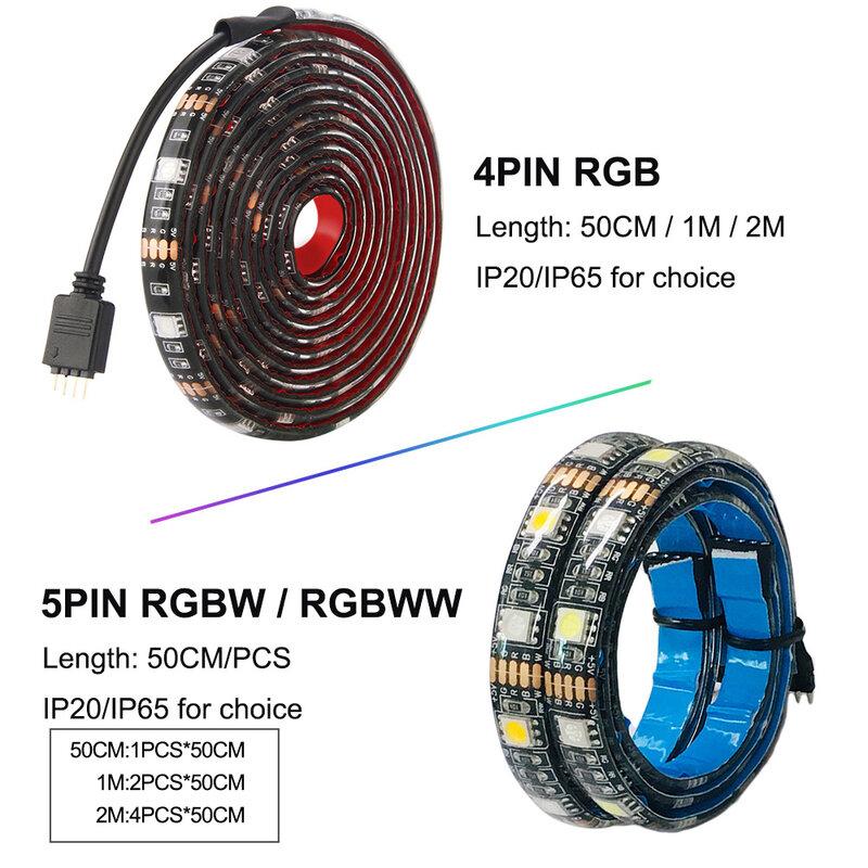 Dc5v usb led 스트립 5050 rgb rgbw rgbww 50 cm 1 m 2 m tv 배경 조명 flexibe led 스트립 접착 테이프 ip20/ip65 방수