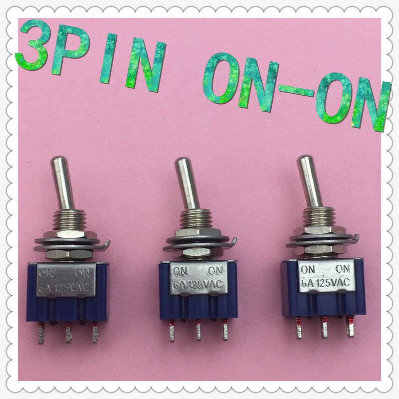 5 قطعة/الوحدة البسيطة MTS-102 3-دبوس G107 SPDT على على 6A 125V 3A250VAC تبديل مفاتيح نوعية جيدة شحن مجاني