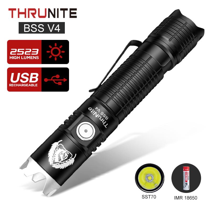 ThruNite BSS V4 Taktische Taschenlampen USB Aufladbare Taschenlampen 2523 Lumen IPX-8 Wasserdicht Handheld Taschenlampen Orginal