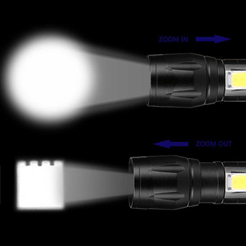 Mini linterna LED portátil XPE COB, linterna con 3 modos de Zoom recargable, luz de Camping impermeable
