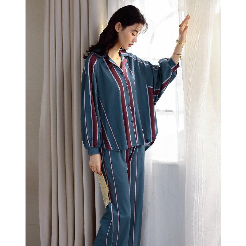 Los primeros 100 juegos son 69,9 Pijamas de algodón de manga larga para mujer, cárdigan a rayas con botones, solapas sueltas para el hogar, primavera y otoño