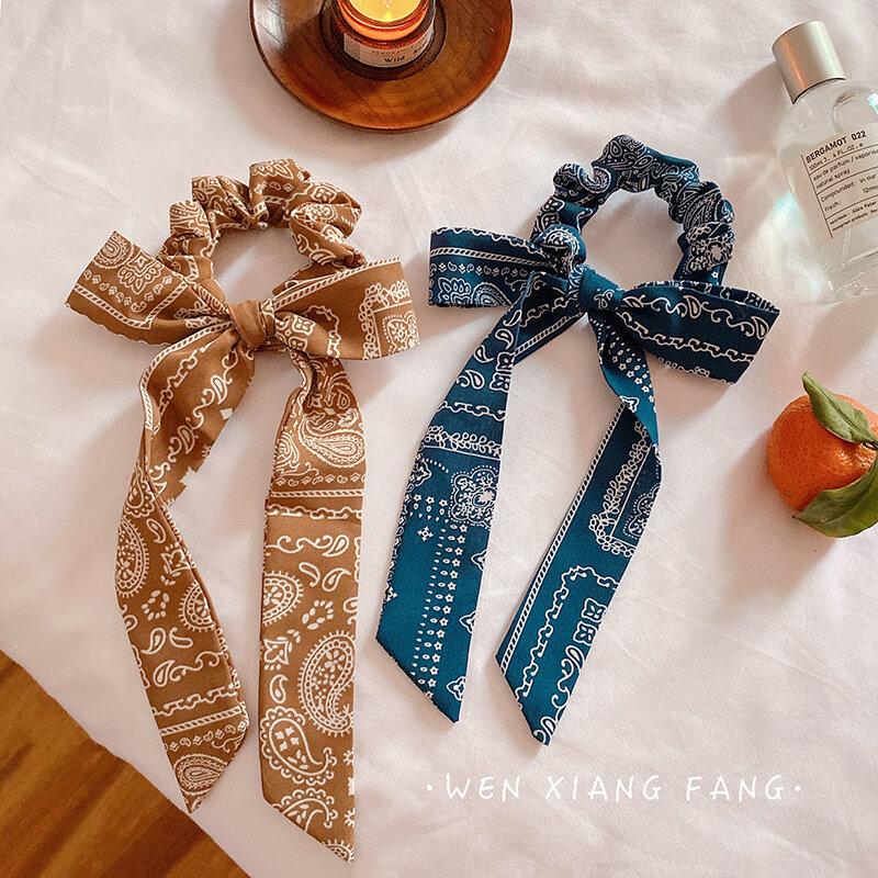 Hair Band Tie Hair Super Fairy Girl Mori Style Bow Long Streamer Hair Ring Simple Retro French Hair Rope Hair Rope Hair