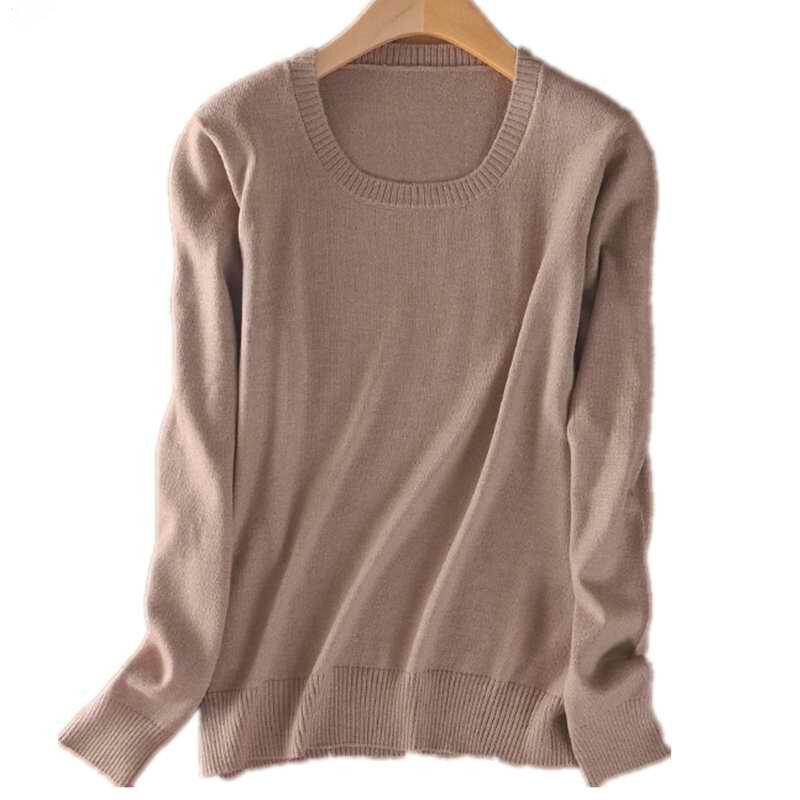 Nowe Khaki Cashmere dla kobiet swetry damskie różowe wełniane zimowe damskie jednokolorowe dzianinowe swetry dzianinowe swetry Jumper 2021