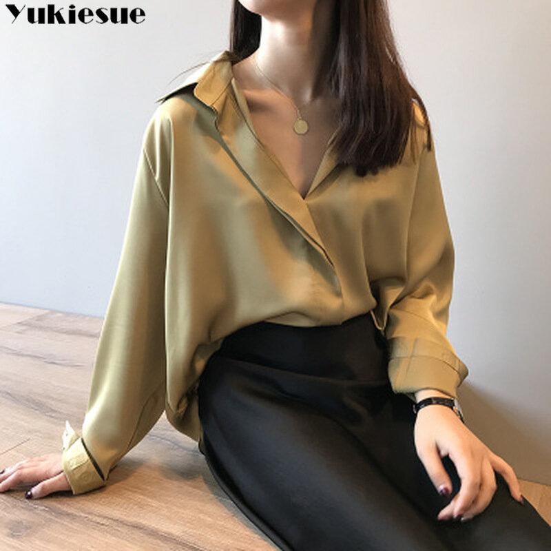 Blusa de manga larga de seda de imitación para verano, camisa elegante para mujer, blusa de talla grande