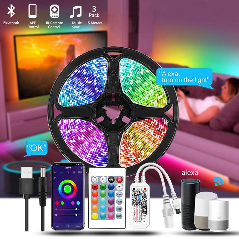 Tira De Luces Led impermeables Para interiores, iluminación De 5m, 5050 Rgb, Usb, 12v, Para decoración, música, controlador Wifi