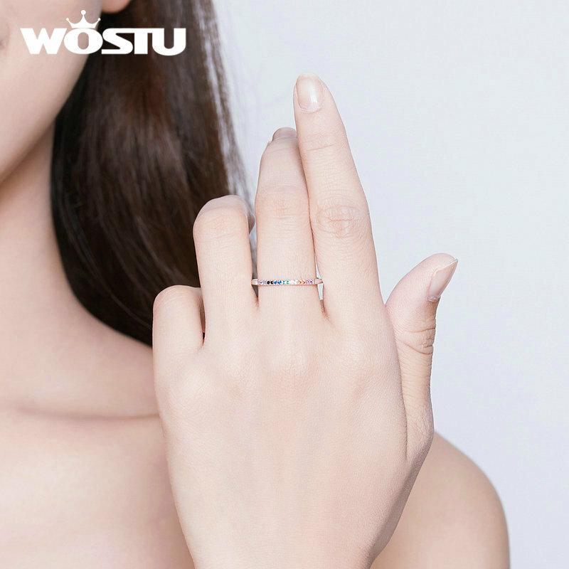 WOSTU-خاتم من الفضة الإسترليني على شكل تاج للنساء ، خاتم ، 925 فضة استرلينية ، أوروبي ، زفاف ، فتاة