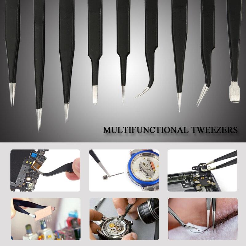 9 stücke/8 stücke/1 stücke Anti-statische Edelstahl Pinzette Wartung Werkzeuge Industrielle Präzision Gebogene Gerade pinzette Reparatur Werkzeuge