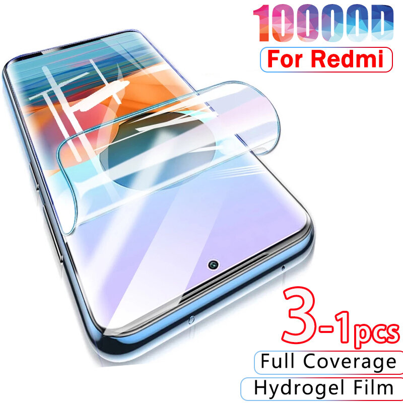 10000D هيدروجيل فيلم ل شاومي Redmi نوت 10 9 8 برو حامي الشاشة ل Redmi 10 9C 8 7 6 9A K40 برو نوت 10S 9 8 T لا الزجاج