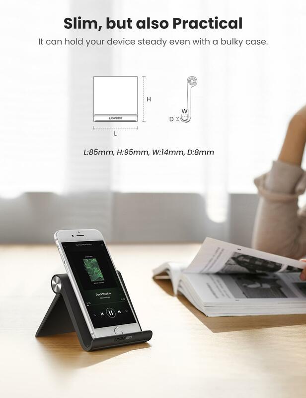 Ugreen حامل هاتف ملائم للحمل, حامل ومسند داعم للهواتف الذكية وأجهزة التابلت وهواتف آيفون