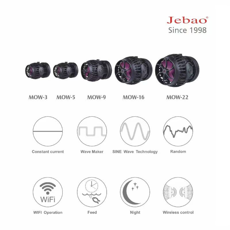 Jebao nova bomba de onda com controlador de exibição lcd wifi mow-3 5 9 16  22 / Produtos para animais de estimação