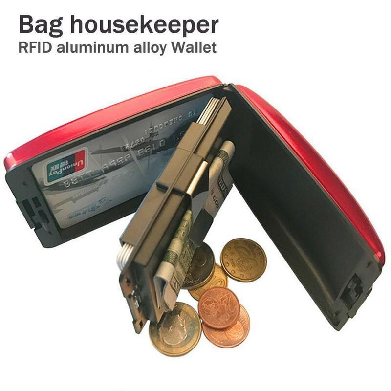 알루미늄 도금 뱅크카드 차단 하드 케이스 지갑 신용 카드 안티 RFID 스캐닝 보호 카드 홀더 알루미늄 지갑