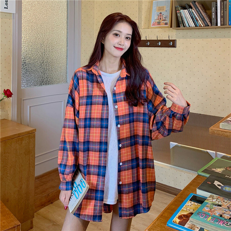 Coat Women's Spring and Autumn 2021 Plaid Shirt Versatile Korean Style Loose Thin Outer Wear Long Sleeve Top Clothes Ins Fashion