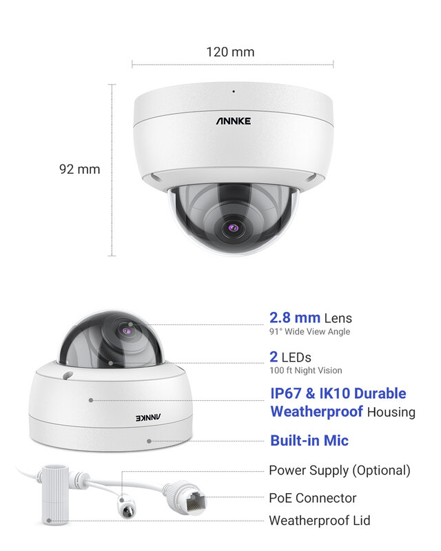 Anke 1 قطعة C500 قبة 5MP في الهواء الطلق IK10 المخرب واقية POE كاميرا الأمن مع الصوت في POE كاميرا مراقبة TF بطاقة الدعم