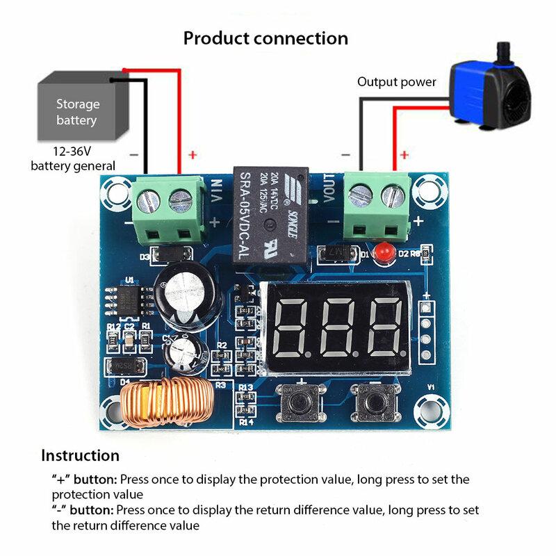 XH-M609 مفتاح فصل الجهد المنخفض قطع 12 فولت 24 فولت 36 فولت شاشة LED رقمية الإفراط في التفريغ حماية للبطارية ليثيوم 12-36 فولت