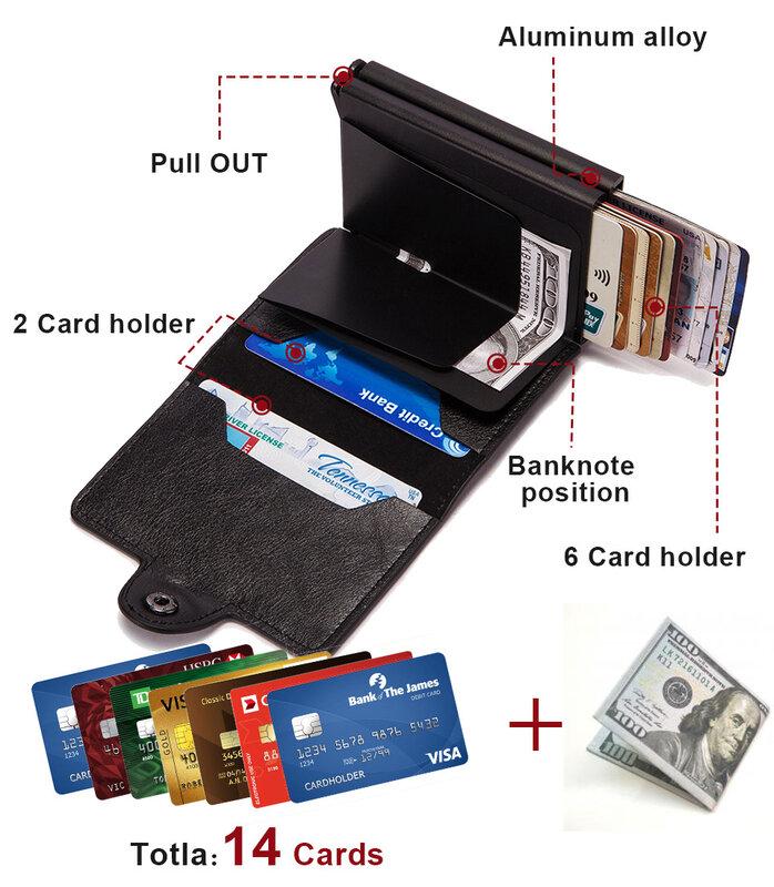 Rfid 차단 보호 남자 id 신용 카드 홀더 지갑 가죽 금속 알루미늄 비즈니스 은행 카드 케이스 신용 카드 카드 카드 홀더