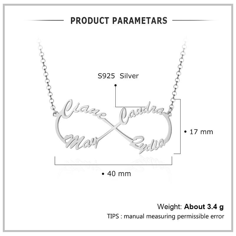 JewelOra-قلادة مخصصة من الفضة الإسترليني عيار 925 مع اسم للمرأة ، قلادة مع لوحة اسم مخصصة ، هدية للأم