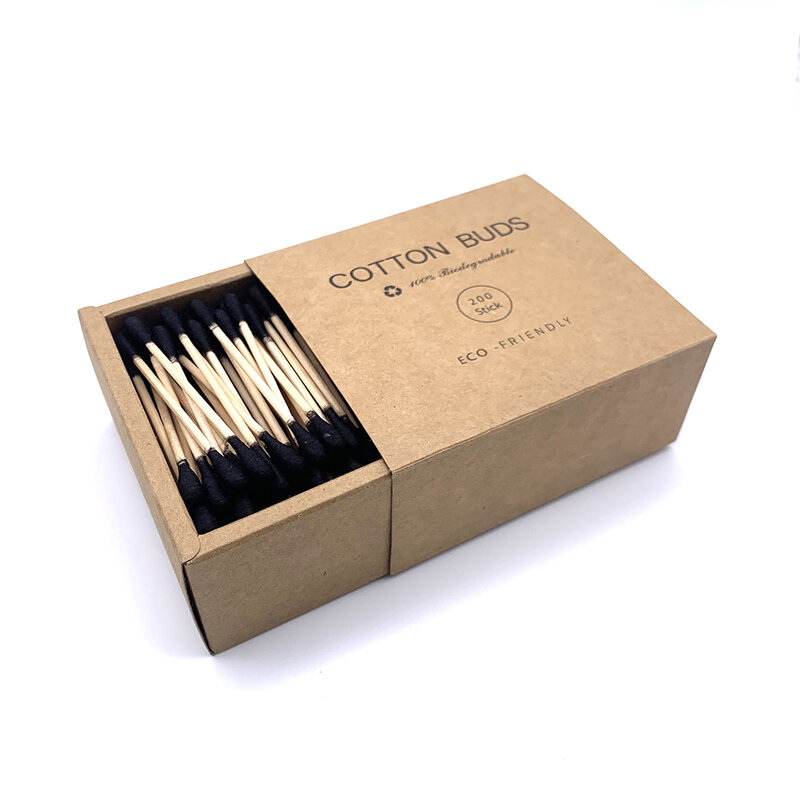 200 teile/paket Doppel Kopf Baumwolle Tupfer Frauen Make-Up Baumwolle Knospen Tipp für Medizinische Holz Sticks Nase Ohren Reinigung Gesundheit Pflege werkzeuge