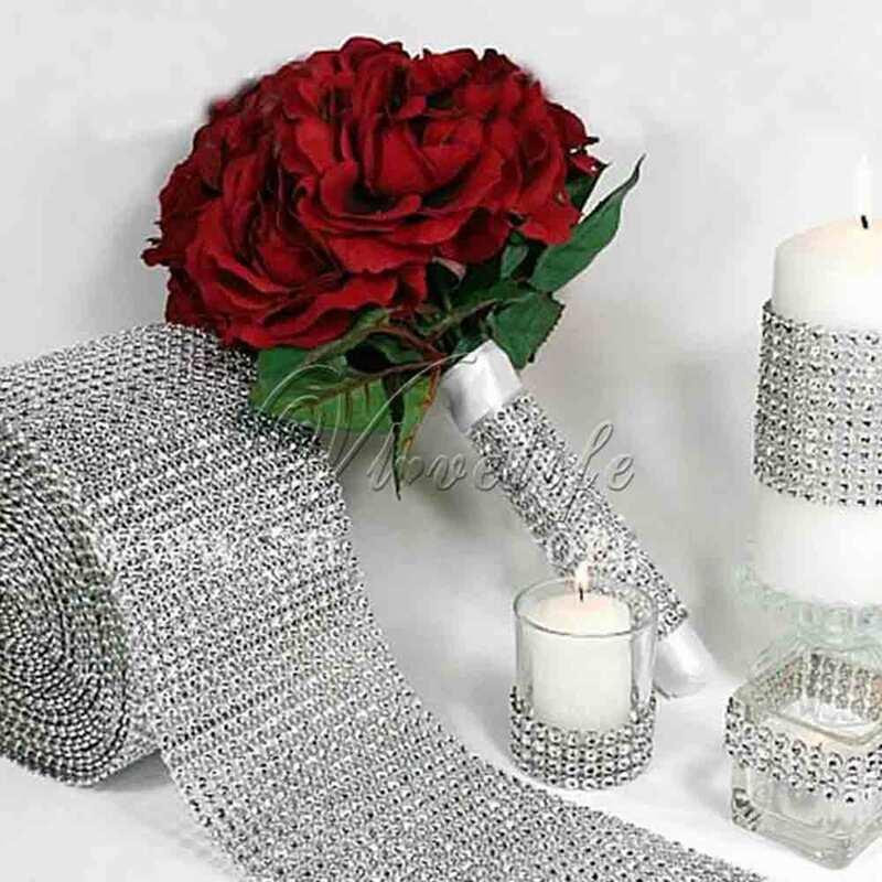Cinta de diamantes de imitación para decoración Floral, cristal Multicolor, 1 yarda x 12cm de ancho, jarrón de regalo para fiesta de boda