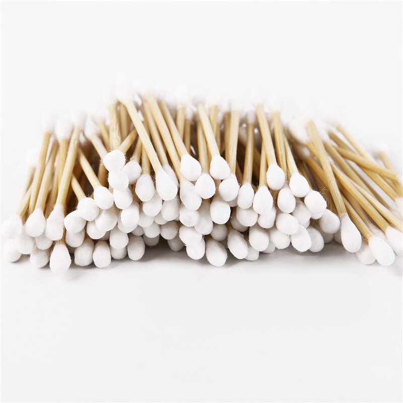 100-200 stücke Doppel Kopf Baumwolle Tupfer Bambus Baumwolle Tupfer Holz Sticks Einweg Knospen Baumwolle für Nase Ohren Reinigung werkzeuge