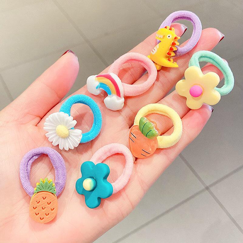 10 sztuk/zestaw Rainbow postać z kreskówki owoce kwiat Nylon elastyczne gumki do włosów moda dziewczyna akcesoria do włosów słodkie gumowe do włosów krawat