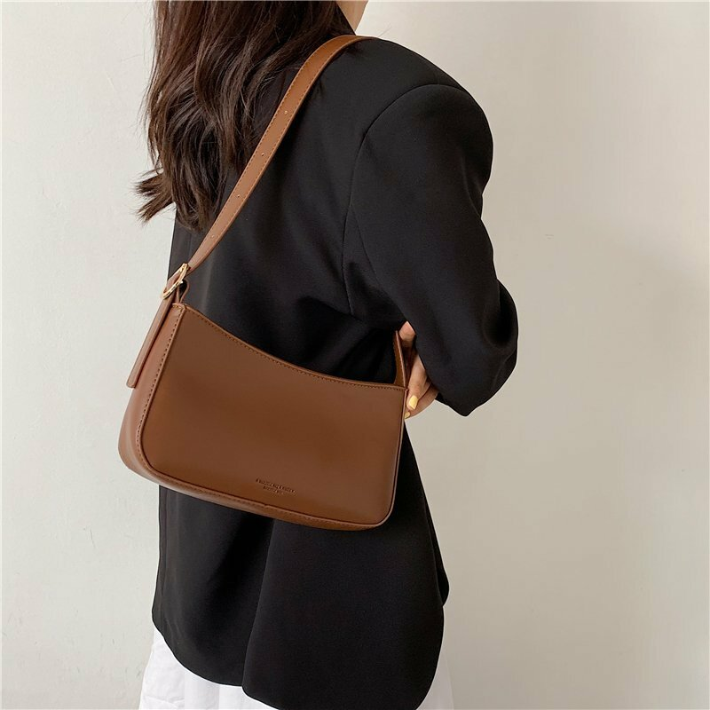 High Quality Leather Casual Shoulder Bags for Women 2021 Summer Solid Color Handbag Female Travel Simple Armpit Totes Sac A Main
