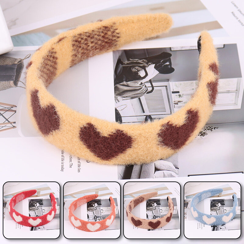 New Fashion Heart Pattern Hair Hoop Color Matching Imitation Cashmere Fleece Hairbands Hair Accessories Hair Styling Tools