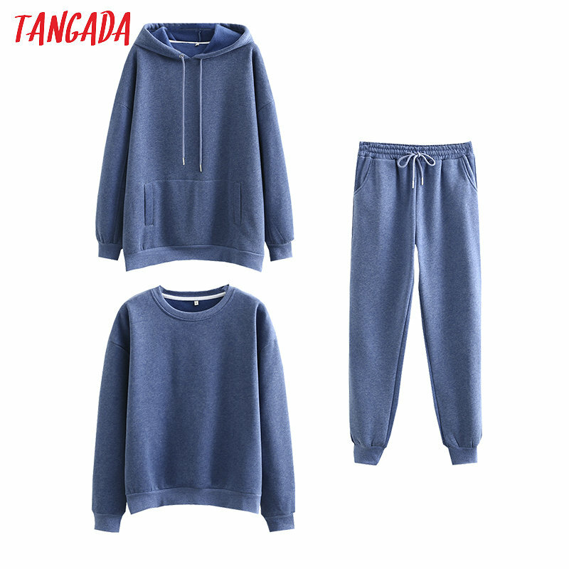 Tangada Frauen paar sweatshirt fleece 100% baumwolle amygreen übergroßen kapuze hoodies sweatshirts plus größe SD60