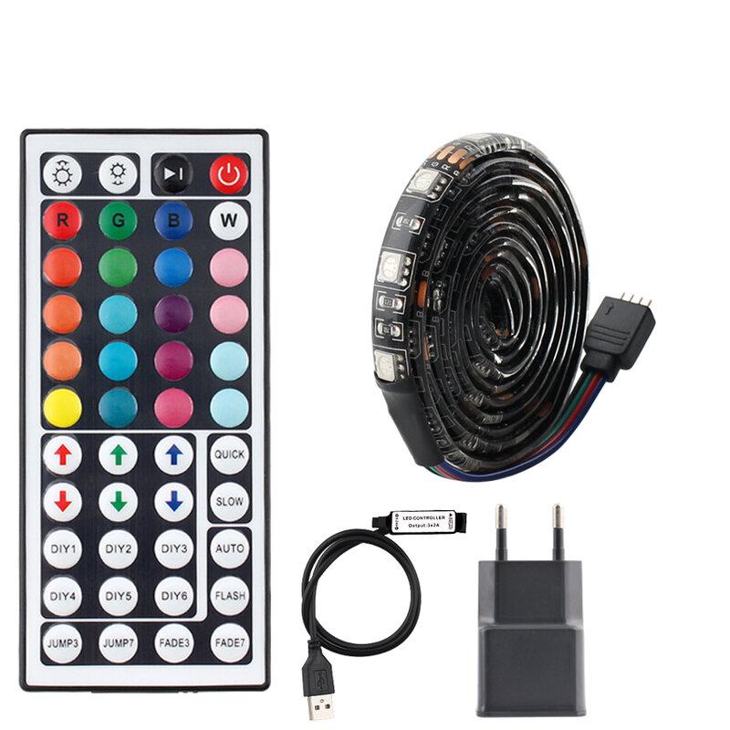Tira de luces LED de 5V CC con mando a distancia, tira de luces LED RGB con retroiluminación de TV Flexible 5050, resistente al agua, 1 M, 2M, 3M, 4M, 5M, adaptador BPCB, 5V, USB