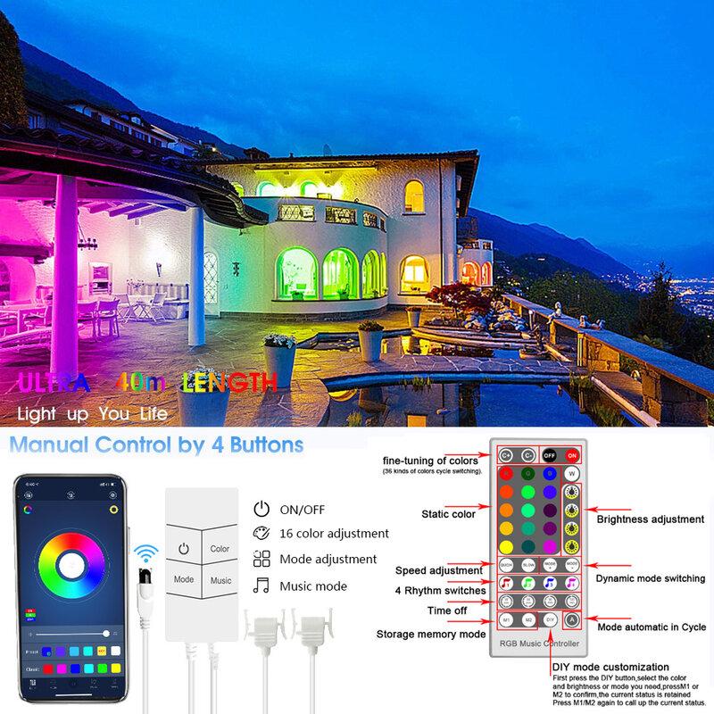 10M 20M 30M 40M Led luces de tira RGB SMD 5050 cinta Flexible decoración de fondo lámpara luminosa 24V DC Control Remoto + adaptador