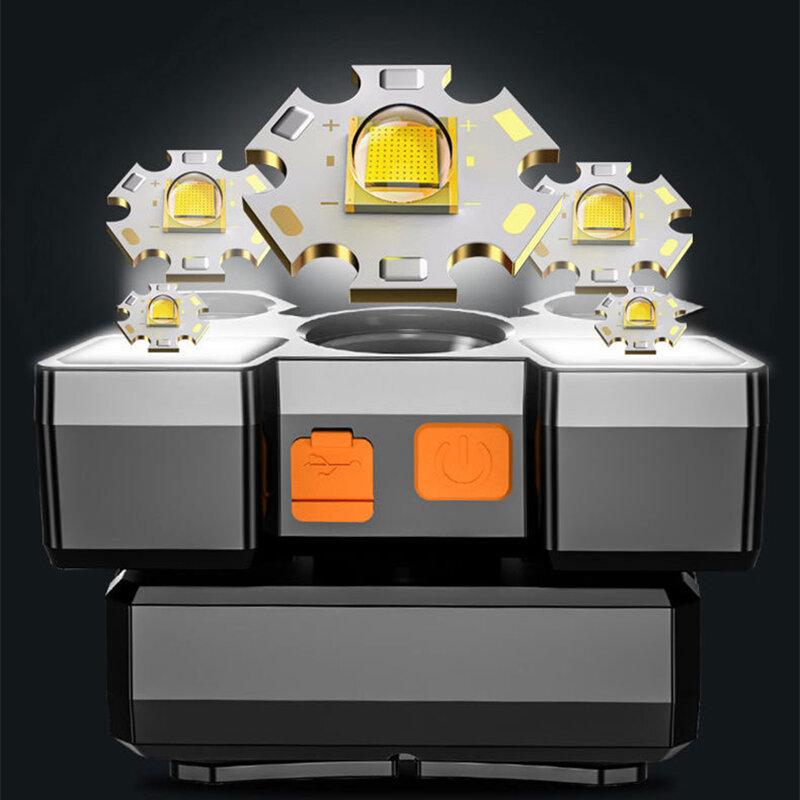 5LED mit Gebaut-in 18650 Batterie USB Aufladbare Tragbare Taschenlampe Laterne Scheinwerfer Outdoor Camping Scheinwerfer Scheinwerfer