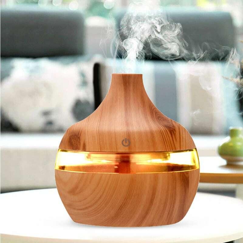 300ML USB umidificatore elettrico Aroma diffusore nebbia grano di legno olio aromaterapia Mini con 7 LED luce per auto Home Office