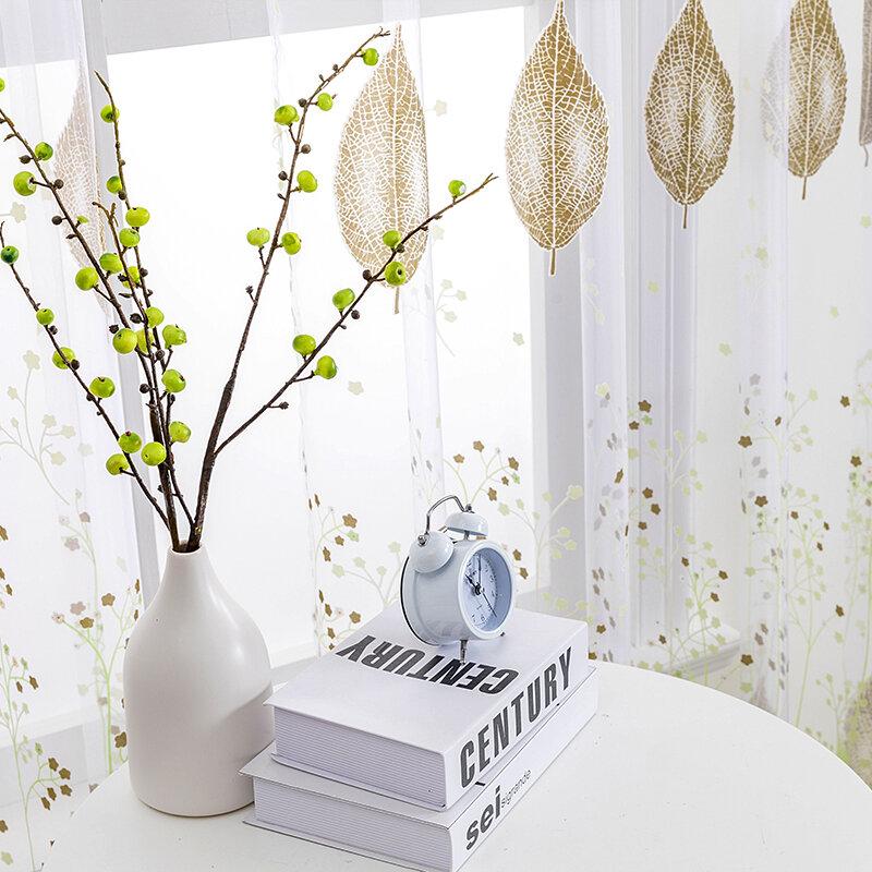BILEEHOME tende da finestra in Tulle trasparente per soggiorno la camera da letto la cucina tende moderne in Tulle foglie verdi tende in tessuto